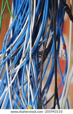 Cables on walls in new server room - stock photo