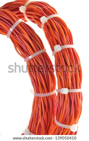 Cables tied in bundles isolated on white background   - stock photo