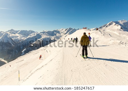 Cableway and chairlift in ski resort Bad Gastein in mountains, Austria. Austrian alps - nature and sport background