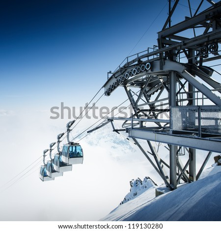 CableWay at winter - alpen resort - stock photo