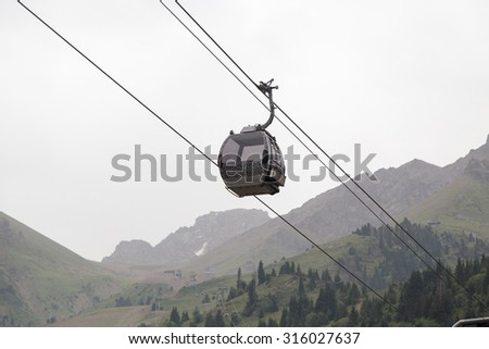 cableway in the mountains of Kazakhstan. Chimbulak