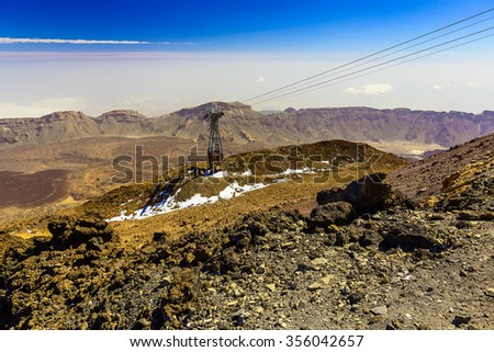 Cableway or Funicular on Teide National Park on Tenerife Canary Island in Spain