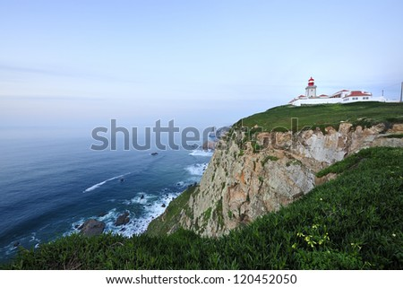 Cabo da Roca (Cape Roca) is a cape which forms the westernmost point of both mainland Portugal, mainland Europe and the Eurasian land mass, Sintra, Lisboa, Portugal - stock photo