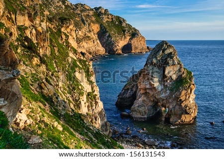 Cabo da Roca is the most western point of European land, on the shore of Atlantic Ocean, Portugal