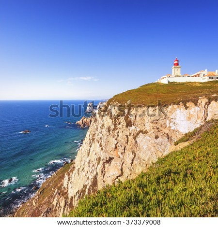 Cabo de Roca, Portugal is the westernmost extent of continental europe. The lighthouse overlooking Atlantic Ocean.