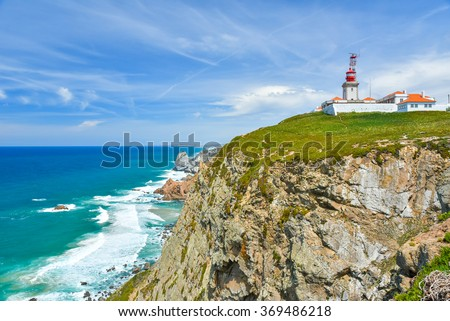Cabo de Roca - Viewpoint at the coast of Portugal - stock photo