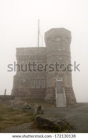 Cabot Tower in the fog, Newfoundland.