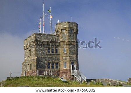 Cabot Tower was built in 1897 on Signal Hill, overlooking the city of St. John's, Newfoundland, Canada. - stock photo