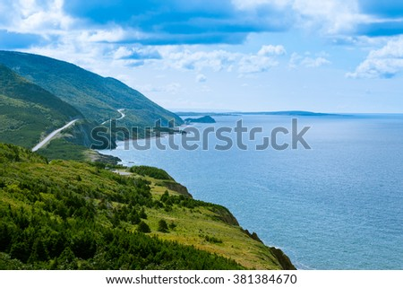 Cabot Trail scenic highway winding through Cape Breton Highlands National Park, Nova Scotia, NS, Canada - stock photo