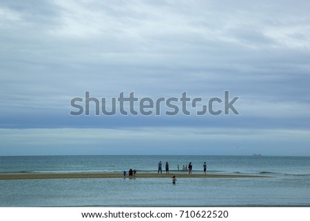 Cabourg, France - August 1, 2017:  beach of the city of Cabourg, Normandy France during the summer