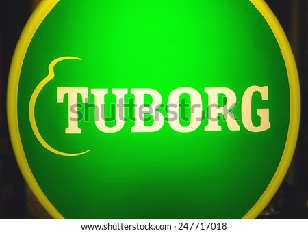Cacak, Serbia - January 23, 2015: Velvet Cafe and Club interior, details of Tuborg beer commercial.   - stock photo