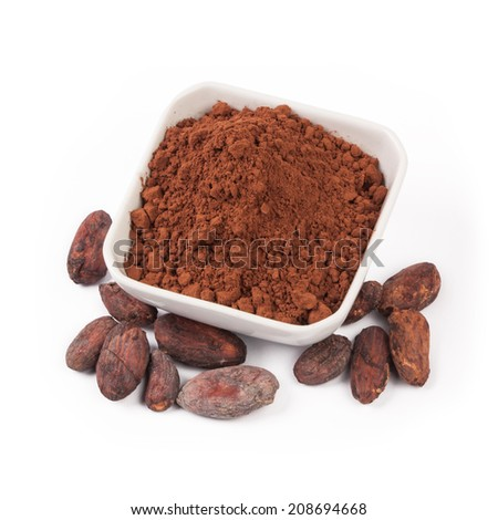 cacao beans and cacao powder isolated on white background - stock photo