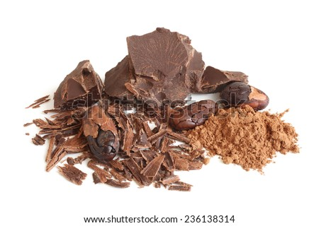 Cacao beans, cacao powder and chocolate on white background - stock photo