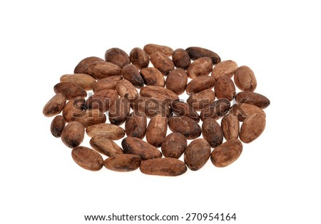 cacao beans  isolated on white background.Shallow depth of field. - stock photo