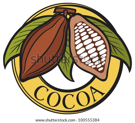 Cacao - cocoa beans label (symbol, badge, sticker) - stock photo