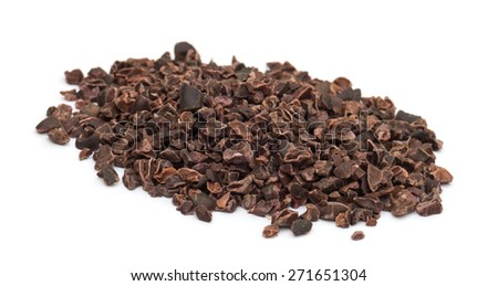 Cacao nibs pile isolated on white background - stock photo
