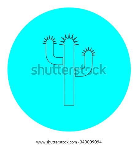Cactus. Black outline flat symbol on blue circle. Simple illustration pictograh on white background - stock photo