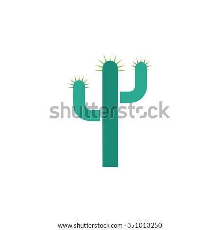 Cactus. Colorful pictogram symbol on white background. Simple icon - stock photo
