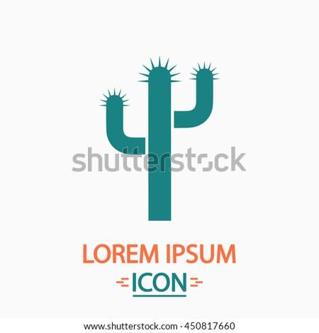 Cactus. Flat icon on white background. Simple illustration - stock photo