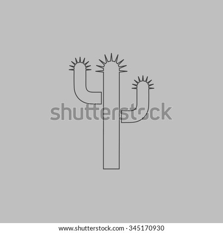 Cactus. Flat outline icon on grey background - stock photo