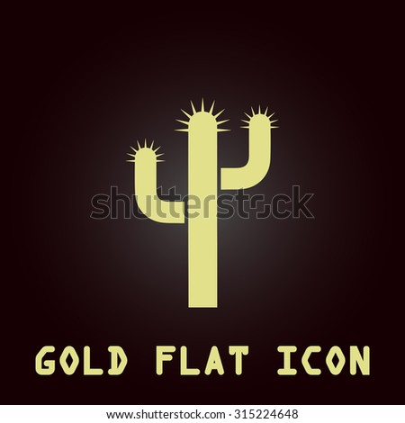 Cactus. Gold flat icon. Symbol for web and mobile applications for use as logo, pictogram, infographic element - stock photo