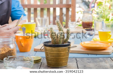 cactus on wooden table in the coffee shop