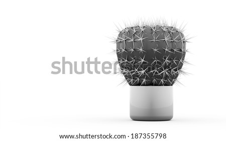 Cactus rendered isolated on white background - stock photo