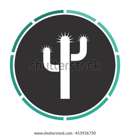 Cactus. White circle button on black background - stock photo