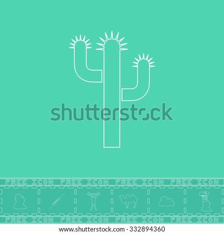 Cactus. White outline flat icon and bonus symbol. Simple illustration pictogram on green background - stock photo