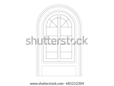 Architectural Drawing Window cad architectural drawing sliding door black stock illustration