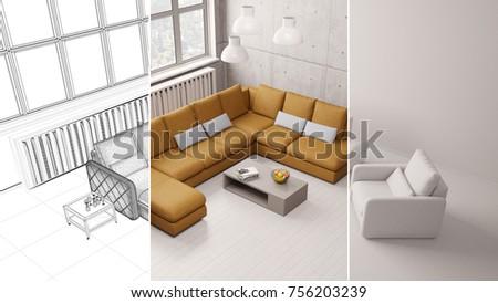 CAD Interior Design Room Planning Process Draft Of Living Room (3D  Rendering)