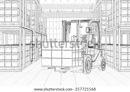 CAD line sketch of forklift in a full warehouse (3D Rendering) - stock photo