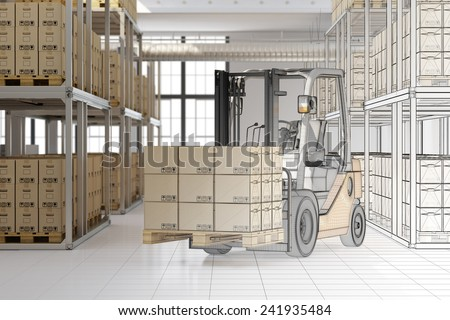 CAD planning of mail order warehouse with forklift and many boxes (3D Rendering) - stock photo