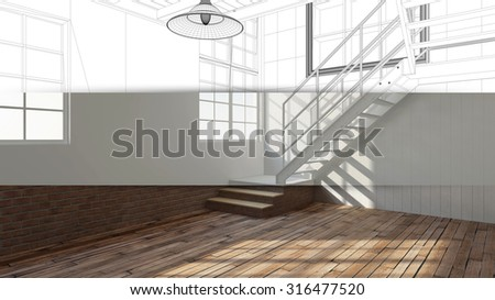 Wireframe Office Building Lobby With Conference Room