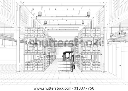 CAD wireframe mesh of a warehouse with forklift (3D Rendering) - stock photo
