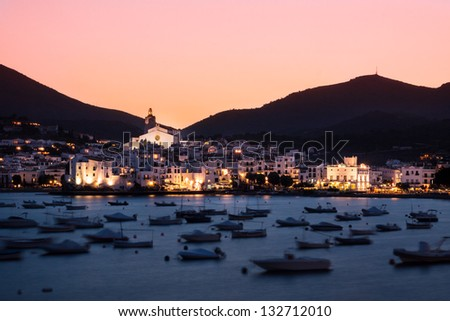 Cadaques in sunset, Costa Brava, Catalunia, Spain. - stock photo