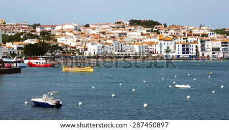 CADAQUES, SPAIN - MAY 14, 2015: View of  mediterranean town from seaside. Cadaques, Catalonia
