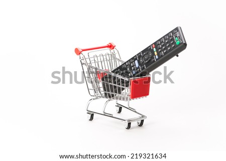 Caddy for shopping  with remote control on white background