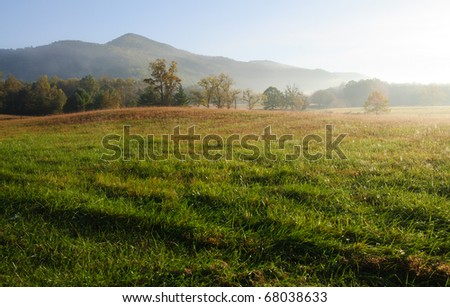 Cades Cove fields, forests and hills - stock photo