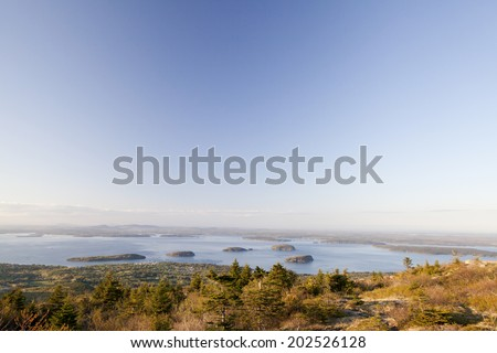 Cadillac Mountain with Porcupine Islands at Acadia National Park, Maine. The islands are Bald Porcupine Island, Long Porcupine Island, Burnt Porcupine Island, Sheep Porcupine Island, and Bar island. - stock photo