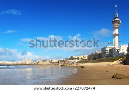 Cadiz beach on sunny day, Spain - stock photo