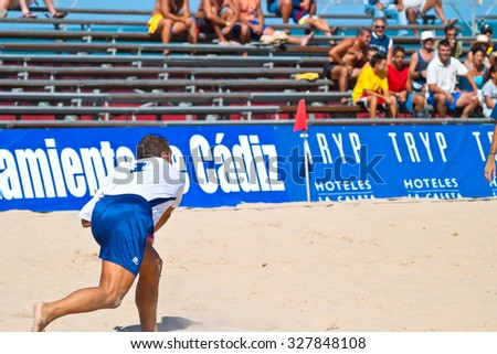 CADIZ, SPAIN -  JUL 30:  Unknown goalkeeper of the team of Cadiz playing the Spanish Championship of Beach Soccer on Jul 30, 2005 on the beach of La Victoria in Cadiz, Spain - stock photo