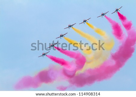 CADIZ, SPAIN-SEP 09:  Aircraft of the Patrulla Aguila taking part in an exhibition on the 5th airshow of Cadiz on Sep 09, 2012, in Cadiz, Spain