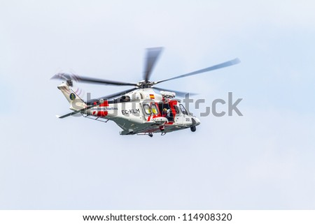 CADIZ, SPAIN-SEP 09:  Helicopter AW139SAR Helimer of maritime rescue taking part in an exhibition on the 5th airshow of Cadiz on Sep 09, 2012, in Cadiz, Spain