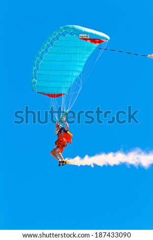 CADIZ, SPAIN-SEP 11: Parachutist Rex  Pemberton taking part in  the 4th airshow of Cadiz on Sep 11, 2011, in Cadiz, Spain