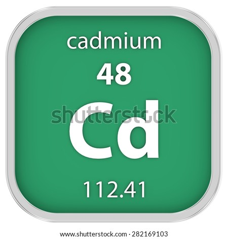 Cadmium material on the periodic table. Part of a series.