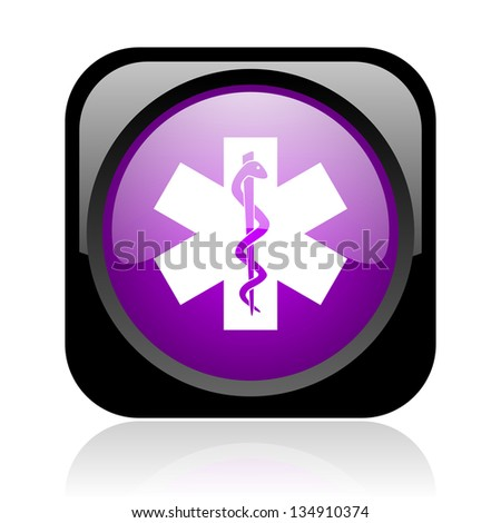 caduceus black and violet square web glossy icon