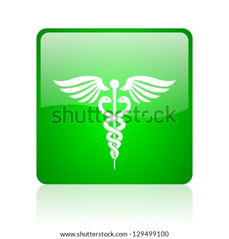 caduceus green square web icon on white background