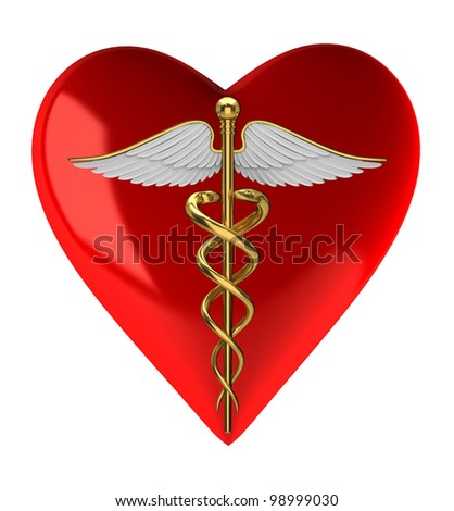Caduceus medical symbol on red heart - stock photo