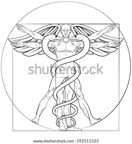 Caduceus Medical Symbol Vitruvian Man Concept Stock Illustration ...